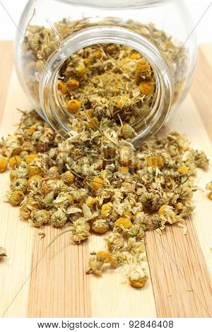 Heap Of Dried Chamomile In Glass Jar