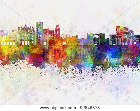 Avila Skyline In Watercolor Background