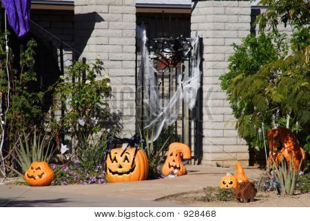 Halloween Decorated House With Pumpkins