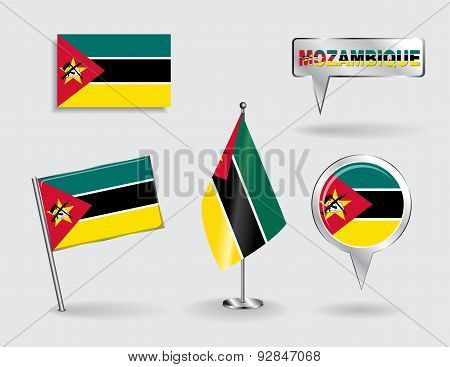 Set of Mozambique pin, icon and map pointer flags. Vector