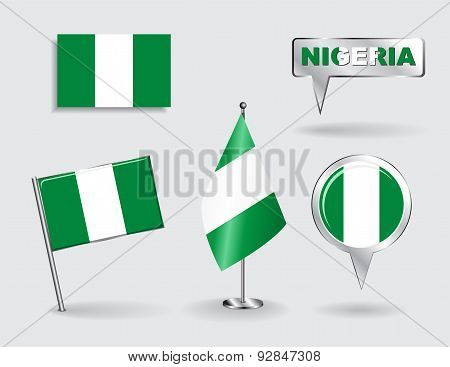 Set of Nigerian pin, icon and map pointer flags. Vector