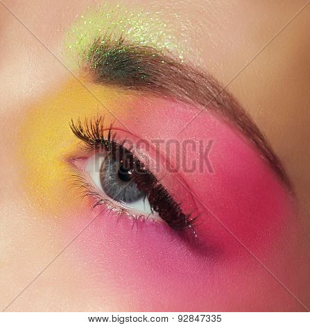 Cosmetics. Mascara. Woman's Eye With Colorful Makeup