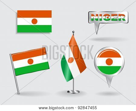Set of Niger pin, icon and map pointer flags. Vector