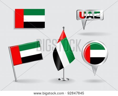 Set of United Arab Emirates pin, icon and map pointer flags. Vector