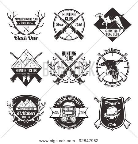 Vintage hunting labels set