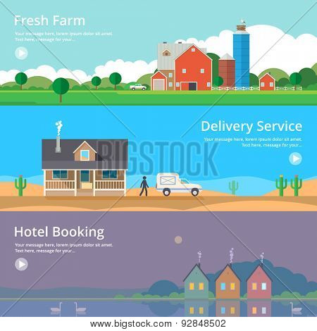 Colorful vector flat banner set. Quality design illustrations, elements and concept - Hotel booking, Delivery service, Eco farm