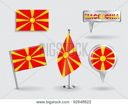 Set of Macedonian pin, icon and map pointer flags. Vector