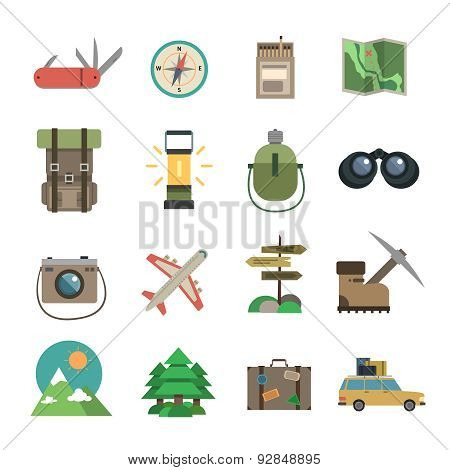 Hiking icons set flat