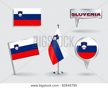 Set of Slovenian pin, icon and map pointer flags. Vector