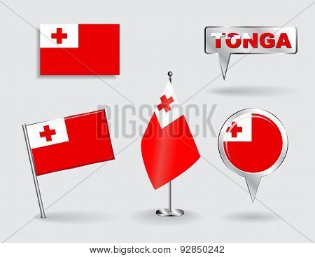 Set of Tonga pin, icon and map pointer flags. Vector