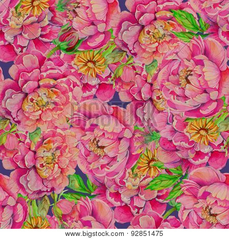 seamless pattern of peony flowers with leaves and smaller flower