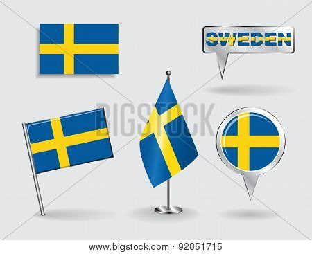 Set of Swedish pin, icon and map pointer flags. Vector