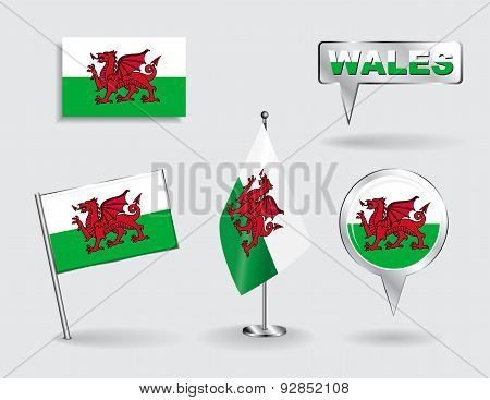 Set of Welsh pin, icon and map pointer flags. Vector