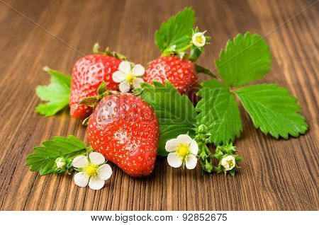 Ripe Strawberries With Leaves And Blooms