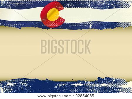 Colorado horizontal scratched flag. An horizontal  background with a scratched flag of Arizona and a frame for your message
