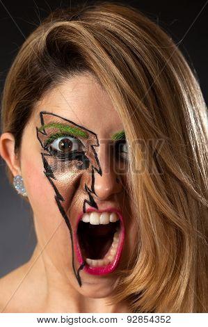 Closeup Of Girl Screaming Lightning Makeup