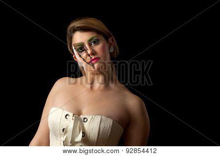 Girl With Lighting Makeup Posing