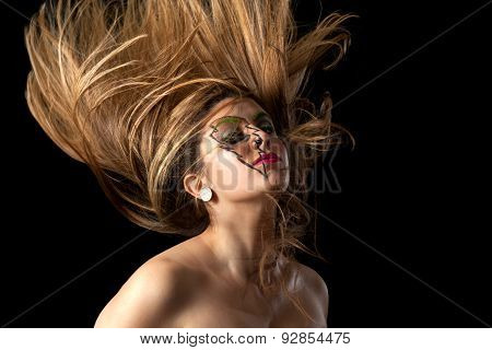 Girl Lighting Makeup Head Banging Hair