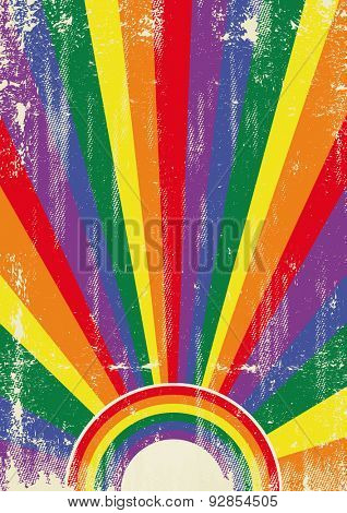 Gay vintage sunbeams. A vintage gay poster with sunbeams and a a texture for your advertising