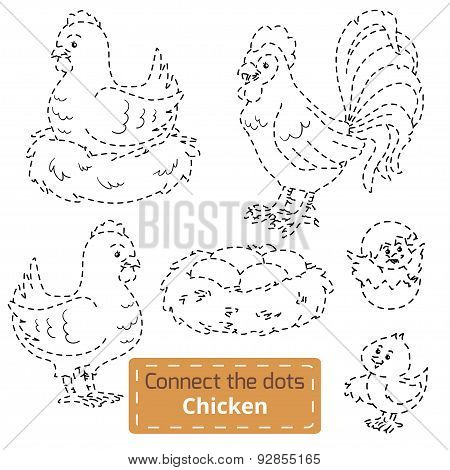 Connect The Dots (farm Birds Set, Chicken Family)