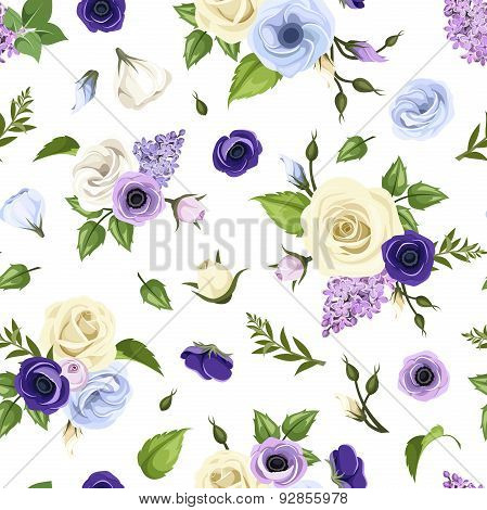 Seamless pattern with blue, purple and white roses, lisianthuses, anemones and lilac flowers. Vector
