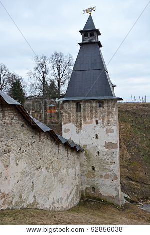 The Fortress Of The Pechorsky Monastery, Located Near Pskov City, Russia