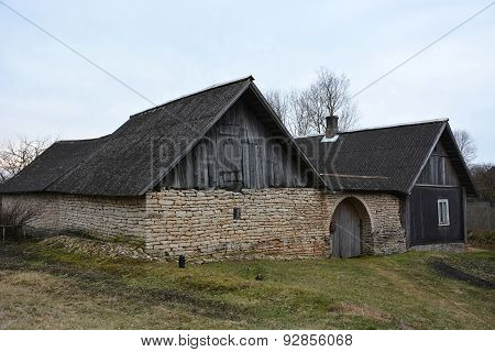 Ancient Wooden House At The Village At Pskov Region