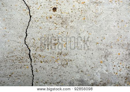 Grey, Old Wall Background With Fissure. Closeup View