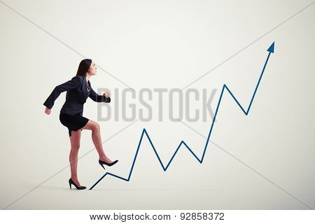 purposeful woman walking up diagram blue arrow over light grey background