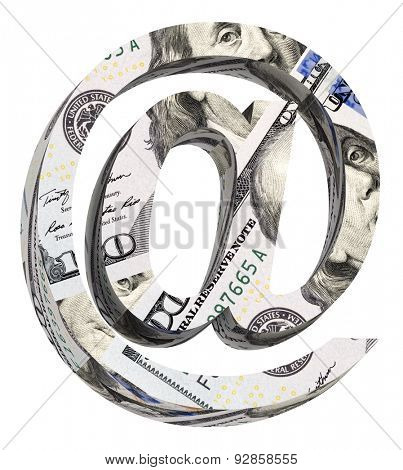 E-mail sign from dollar bill alphabet set isolated over white. Computer generated 3D photo rendering.
