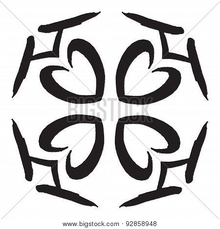 Template With Hand Drawing Zentangle Decorative Frame In Ethnic Grunge Style. Vector