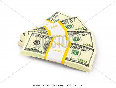 Money stacks isolated on white background