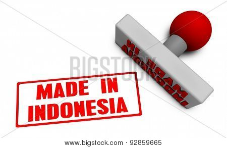 Made in Indonesia Stamp or Chop on Paper Concept in 3d