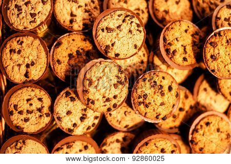 Chocolate Chips Cookies, Close Up. Chocolate Chip Cookies Shot In Coffee Colored Filter