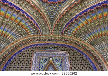 Magnificent Ceiling In The Peacock Room Of Sammezzano