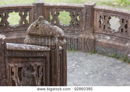 Close Up Of The Balustrade Outside Sammezzano Castle In Italy
