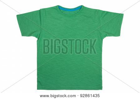 Green T- Shirt Isolated On White Background