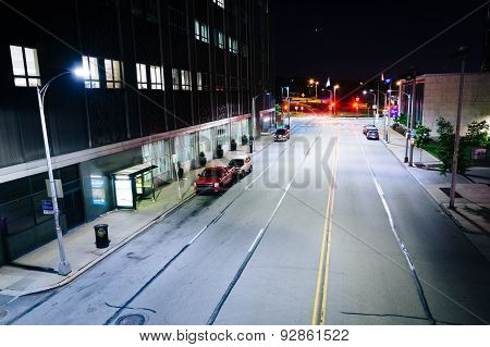 View Of Boulevard Of The Allies At Night, In Pittsburgh, Pennsylvania.