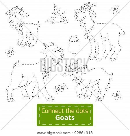 Connect The Dots (goats Family, Farm Animals)