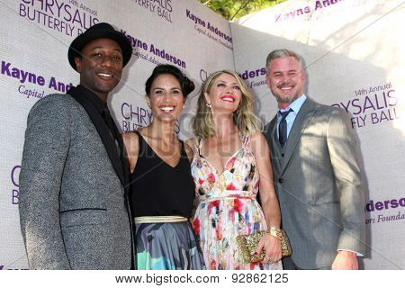 LOS ANGELES - JUN 6:  Aloe Black, Guest, Rebecca Gayheart, Eric Dane at the 14th Annual Chrysalis Butterfly Ball at the Private Residence on June 6, 2015 in Los Angeles, CA