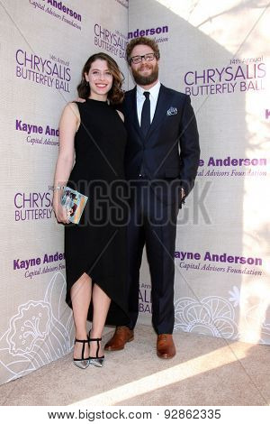 LOS ANGELES - JUN 6:  Lauren Miller, Seth Rogen at the 14th Annual Chrysalis Butterfly Ball at the Private Residence on June 6, 2015 in Los Angeles, CA