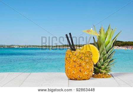 Pineapple Juice Served In The Peel