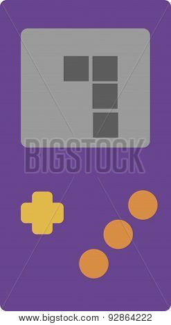 Vector Illustration Of A Retro Portable Gaming Device.