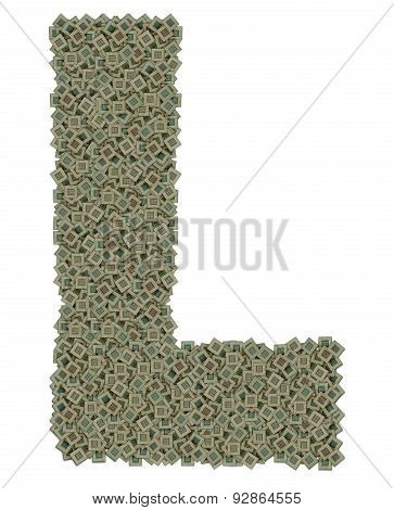 letter L made of old and dirty microprocessors, isolated on white background