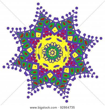 Hand-drawn Colored Mandala Zentangl. Holi Festival Of Colors