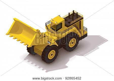 Isometric icon representing heavy yellow wheel loader