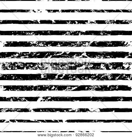 Vector Watercolor Different Sized Stripes Grunge Seamless Pattern. Hand Drawn Abstract Black And Whi