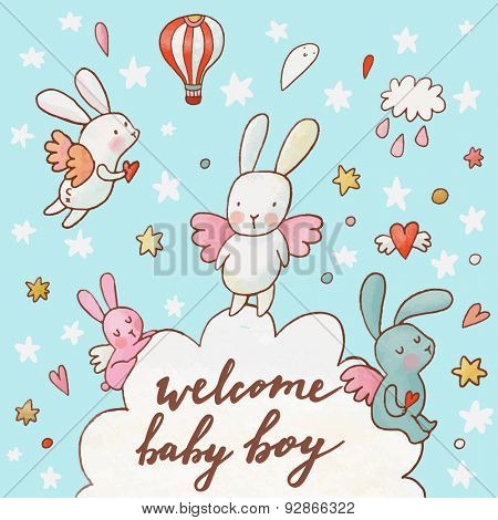 Welcome baby boy - concept card. Fantastic childish background made of cartoon signs: lovely rabbits, hearts, stars, clouds and air balloon in the sky. Sweet congratulation card in vector
