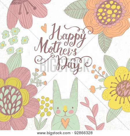 Happy Mothers Day. Sweet holiday card in vector. Awesome flowers made with outline in bright colors. Bright romantic card with summer flowers and lovely rabbit
