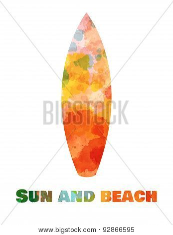 Hand drawn card background with tourism objects: surfboard.